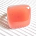Lazacrózsa üveg gyűrű, üvegékszer, Ékszer, óra, Ékszerszett, Nyaklánc, Gyűrű, Ékszerkészítés, Üvegművészet, Lazac - narancsos rózsaszín - árnyalatú és finom fehér ékszerüvegekből olvasztottam ezt a trendi, m..., Meska