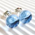 Vízcsepp kék üveg pötty fülbevaló, üvegékszer, Ékszer, óra, Fülbevaló, Ékszerkészítés, Üvegművészet, Moretti üvegrúdból olvasztott pötty fülbevalócska. Nikkelmentes bedugós alapon, fém vagy szilikon h..., Meska