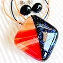 Csillagfényes Afrika üveg medál és fülbevaló, üvegékszer szett, Ékszer, óra, Nyaklánc, Medál, Ékszerszett, Ékszerkészítés, Üvegművészet, Bordós-barnás-homok szín felhőmintás és sötétkék, csillámló aventurin ékszerüvegekből készítettem e..., Meska