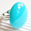 Akvamarin kerek üveg gyűrű, üvegékszer, AKCIÓ! - 3 BÁRMILYEN TERMÉK vásárlása eseté...