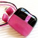 Pink éjfél üveg medál és fülbevaló, üvegékszer szett , Ékszer, óra, Ékszerszett, Medál, Nyaklánc, Ékszerkészítés, Üvegművészet, Aprólékos munkával, mozaik technikával, a legmagasabb minőségű, málna és fekete árnyalatú művész üv..., Meska