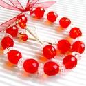 Lollipop narancsban gyöngy fülbevaló és karkötő, üveggyöngy ékszer szett, Ékszer, Ruha, divat, cipő, Fülbevaló, Karkötő, Metszett narancs színű üveggyöngy bogyókból, kristályos áttetsző lencsékből és ezüstöz..., Meska