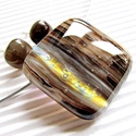 Aranyfényű kávébarna üveg medál és fülbevaló, üvegékszer szett, Ékszer, óra, Ékszerszett, Nyaklánc, Medál, Ékszerkészítés, Üvegművészet, Aprólékos munkával, mozaik technikával  készítettem ezt a mutatós, egyedi medált. Kifinomultan eleg..., Meska