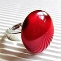 Harmatos meggybordó kerek üveg gyűrű, üvegékszer, Ékszer, óra, Gyűrű, Meggybordó és áttetsző ékszerüvegekből olvasztottam ezt a mutatós gyűrűt, felülete a keme..., Meska