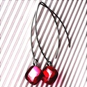 Málna rombusz üveg design fülbevaló ORVOSI FÉM alapon, üvegékszer, minimal ékszer, AKCIÓ! - 3 BÁRMILYEN TERMÉK vásárlása eseté...