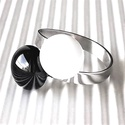 Fekete-fehér dupla pötyis üveg gyűrű NEMESACÉL alapon, trendi, design üvegékszer, AKCIÓ! - 3 BÁRMILYEN TERMÉK vásárlása eseté...