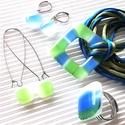 Ég és föld között maxi fémmentes üveg medál, gyűrű és 2 pár lógós fülbevaló ORVOSI FÉM alapon, üvegékszer szett, AKCIÓ! - 3 BÁRMILYEN TERMÉK vásárlása eseté...