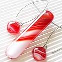 Piros-fehér felhőjáték elegancia üveg medál és hosszú design fülbevaló, NEMESACÉL/ORVOSI FÉM, üvegékszer szett, AKCIÓ! - 3 BÁRMILYEN TERMÉK vásárlása eseté...