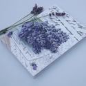 Levendulás notesz, Naptár, képeslap, album, Jegyzetfüzet, napló, Levendula mintával díszített, A5-ös, keménytáblás füzet. Szépsége az egyszerűségében re..., Meska