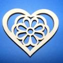 Szív-nagy margaréta,vágott, Dekor fa szív(1 db) rétegelt lemezből,natúr ki...