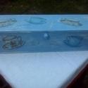 teafilter tartó, Konyhafelszerelés, Otthon, lakberendezés, Tárolóeszköz, 40x12x10cm fa teafilter tartó. Praktikus nyithatósággal, fehérrel alapozva, áfonya kék akril festékk..., Meska