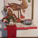 Fali fa mécsestartó, Karácsonyi, adventi apróságok, Otthon, lakberendezés, Karácsonyi dekoráció, Gyertya, mécses, gyertyatartó, MDF lap alapot díszítettem fel hópasztával, csillámporral, akrilfestékkel, mely falra is akasztható...., Meska