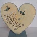 Szív alakú álló mécsestartó fából, Dekoráció, Otthon, lakberendezés, Gyertya, mécses, gyertyatartó, Decoupage, transzfer és szalvétatechnika, 20x20cm gyönyörű virág motívummal mart, szív alakú mécsestartó. Márványozással festettem, majd viss..., Meska
