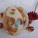 bonbon tartó tojás, Dekoráció, Ünnepi dekoráció, Húsvéti apróságok, Hungarocell nagy tojás, ami felezve szét nyitható. Finom vonalas repesztéssel díszítve. Unokának, lo..., Meska