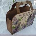 Csajos táska doboz, Otthon, lakberendezés, Tárolóeszköz, Doboz, Újságtartó, 31 x 22 x 9,6 cm klassz egyedi, csajos táskadoboz gyönyörű orgona mintával, dió páccal lazúrozva, st..., Meska