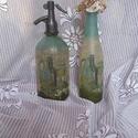 Szóda szett, Dekoráció, Konyhafelszerelés, Tölthető szóda szett. Rizspapír és szalvéta kombinációjával lett ilyen szép egyedi. Bornak az üveg, ..., Meska