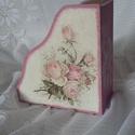 Vintage irattartó, Otthon, lakberendezés, Tárolóeszköz, A5 méretű gyönyörű vintage rózsa mintával irattartó. Belső részük dió páccal lazúrozva. A szép kézim..., Meska