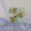 virágos fali üveg óra, 21x21 cm négyzet alakú fali üveg óra. Nagyon s...