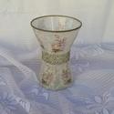 vintage üveg váza, Dekoráció, Otthon, lakberendezés, Kaspó, virágtartó, váza, korsó, cserép, 19cm magas és a legszélesebb felső körív mérete 14cm üveg váza díszítése rizspapírral és szalvétával..., Meska