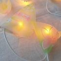 Lámpafüzér, Dekoráció, Otthon, lakberendezés, Lámpa, Hangulatlámpa, 10 égősoros, tavaszt idéző mintával, egyedi kézzel készített lámpafüzér. Organza anyagból van a lámp..., Meska