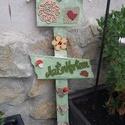 Köszöntő kerti tábla, Dekoráció, Otthon, lakberendezés, Kerti dísz, 70 cm hosszú és a legszélesebb része 20 cm. Alapozás után oliv zöld akril festékkel festettem és cap..., Meska
