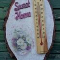 fatörzs hőmérő, Dekoráció, Otthon, lakberendezés, Fatörzs szeleten hőmérő, szép virág mintával és Sweet Home felirattal. Matt lakkal fedtem le, könnye..., Meska