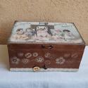 Varrós doboz, Otthon, lakberendezés, Tárolóeszköz, Igazi vintage csemege. Gyönyörű, dekupázsolt, lazúrozott varrós doboz, 30x18x14cm méretekkel. A dobo..., Meska