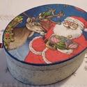 Mikulás doboz, Dekoráció, Karácsonyi, adventi apróságok, Otthon, lakberendezés, Ünnepi dekoráció, Karácsonyi dekoráció, Ovális mikulás karton doboz. Cukiság ha nem csomagot szeretnél ajándékozni. Sok édesség, nyalánkság ..., Meska