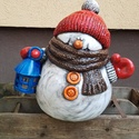 Kerámia hóember, Dekoráció, Karácsonyi, adventi apróságok, Ünnepi dekoráció, Karácsonyi dekoráció, 40x30cm fehér kerámia hóember mécsestartóval. Örök darab :) jövőre újra az otthonunk dísze lehet. Kü..., Meska