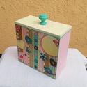 Cuki ékszeres dobozka, Ékszer, Otthon, lakberendezés, Ékszertartó, 14x14x7cm cuki, tavaszi, vintage dobozka. A szalvéta türkiz, rózsaszín, vanília, világos homok színe..., Meska