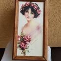 Elegáns vintage doboz, Otthon & lakás, Lakberendezés, Tárolóeszköz, Doboz, 30x17x12cm doboz gyönyörű női képpel, kerettel. Fényképtartó doboznak készült, de lehet akár varrós,..., Meska