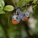 Nemez madárka fólbevaló, Ékszer, óra, Fülbevaló, Nemezelés, Vörösbegy fülbevaló- méret:2 cm, Meska