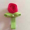 Rózsaszín virágos hajcsat, Ruha, divat, cipő, Hajbavaló, Hajcsat, Mindenmás, Ezt az aranyos rózsaszín virágot szalagból készítettem, 4,5 cm-es aligátor hajcsatra helyeztem el. ..., Meska