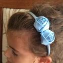Rózsás hajpánt, Ruha, divat, cipő, Hajbavaló, Hajpánt, Ezt a kék rózsás hajpántot szatén szalagból készítettem.   Bármilyen színben el tudom kés..., Meska