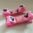 Rózsaszín Minni egér masnis hajcsat , Ruha, divat, cipő, Hajbavaló, Hajcsat, Varrás, Ékszerkészítés, Ezeket az aranyos rózsaszín Minnie egeres hajcsatokat szalagból készítettem,  4,5 cm-es aligátor ha..., Meska