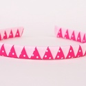 Cikk-cakkos hajpánt (rózsaszín pöttyös), Baba-mama-gyerek, Ruha, divat, cipő, Hajbavaló, Hajpánt, A hajpántot 2 különböző színű (halvány rózsaszín, pink pöttyös) szalaggal vontam be.  Az..., Meska