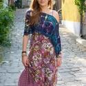 Türkiz nyár aszimmetrikus bohém poncsó, Ruha, divat, cipő, Női ruha, Poncsó, Horgolás, Különleges színátmenetes, 75% gyapjú-25% akril fonálból horgolt, többféleképpen hordható, nyári pon..., Meska