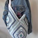 Bohó óriás pakolós táska, Táska, Válltáska, oldaltáska, Bohém stílusú, hatalmas pakolós táska, 100% pamut fonálból, ezüst színű béléssel, a kont..., Meska