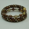 Bronzkígyó karkötő, 3 színű (barna, beige, narancs)kis Tekla gyöngy...