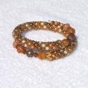 Saint Topaz karkötő, 3 színű (narancs, beige, barna)4 mm-es teklagyö...