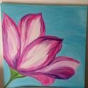 Tiszta tavasz!, Képzőművészet, Otthon, lakberendezés, Festmény, Akril, Festészet, Feszített vászonra festettem akrilfestékkel a pink- rózsa- lila virágot...., a Meskán látott virágo..., Meska