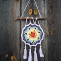 7 csakra mandala -7 szirmú, kicsi, Otthon, lakberendezés, Falikép, A Húgom számára készült. A horgolásminta saját fejlesztés. Specialitása, hogy  7 szirmú a virág (iga..., Meska