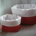 Piroska tároló szett, Piros-fehér pöttyös pamutvászonból készült ...