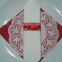 Menyecskés szalvétagyűrű, Dekoráció, Esküvő, Ünnepi dekoráció, Esküvői dekoráció, Varrás, Piros-fehér kockás szalagból készült,lehelet vékony arany szállal átszőve.Rajta 1 cm széles piros s..., Meska