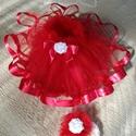 Piroska tüll szoknyája, Baba-mama-gyerek, Ruha, divat, cipő, Gyerekruha, Baba (0-1év), Varrás, Piros kristály tüllből készült szoknya baba fotózáshoz.A szoknyához fej dísz is tartozik.A dereka g..., Meska