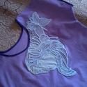 Lila hímzett póló tunika, Ruha, divat, cipő, Női ruha, Felsőrész, póló, Blúz, Csipkekészítés, Varrás, A 2018-as év színe a lila. Orgona-lila vászon anyagból 44-46-os méretű pólót illetve tunikát szabta..., Meska