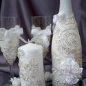 Csipkés pezsgő szett , Esküvő, Nászajándék, Esküvői dekoráció, Esküvőre ajánlom ezt az igazán különleges csipkével díszített pezsgő szettet, amely két pohárból, eg..., Meska