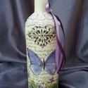 Pillangós álom, Mindenmás, Születésnapra,névnapra ajánlom ezt az üveg bort.  Dekupage technikával készítettem,csipkéve..., Meska