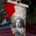 Egyedi díszítésű bor karácsonyra, Dekoráció, Ünnepi dekoráció, Karácsonyi, adventi apróságok, Igazán egyedi díszítésű bor karácsonyra,akár ajándékba,akár az ünnepi asztalra. Mérete:0,75l..., Meska