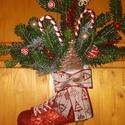 Karácsonyi ajtódísz, Dekoráció, Ünnepi dekoráció, Karácsonyi, adventi apróságok, Karácsonyi dekoráció, Korcsolyára készült egyedi karácsonyi ajtódísz! A korcsolyát akrillal festettem,majd lakkoztam. Az é..., Meska
